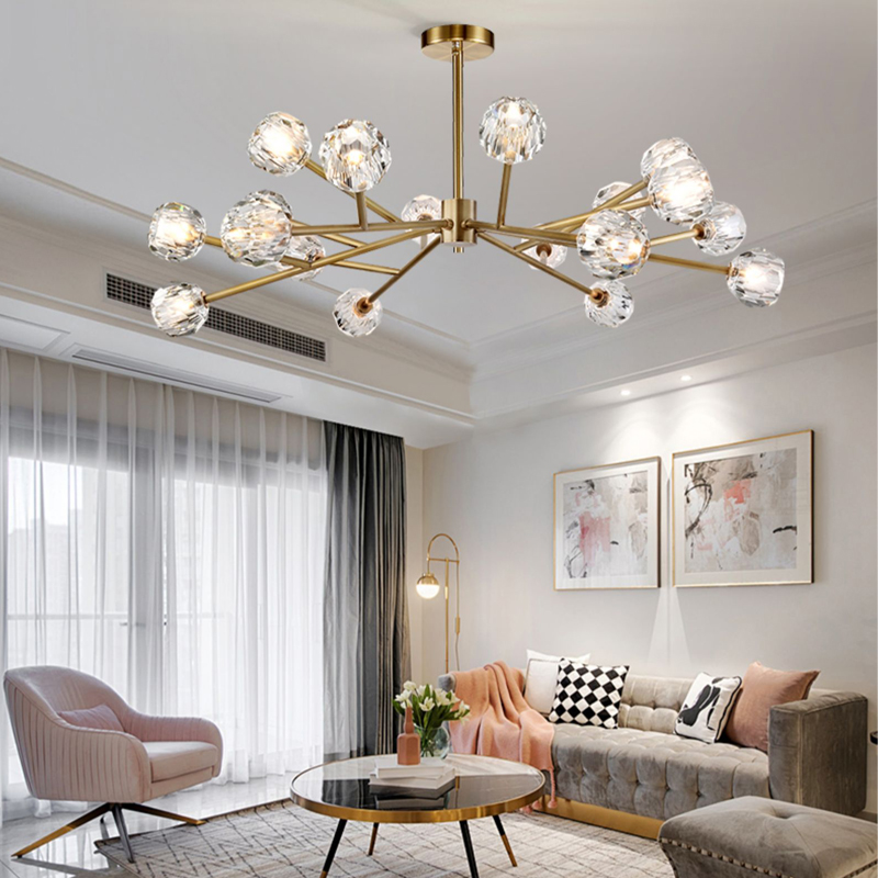 H63c3abad63c64773975e3e60a9b40bf2f Flush Mount Ceiling Light | Ceiling Lamp | New crystal ball ceiling Lighting Gold branch design lustres ceiling lamp for living dining room cristal lighting fixtures Voltage 85-265V