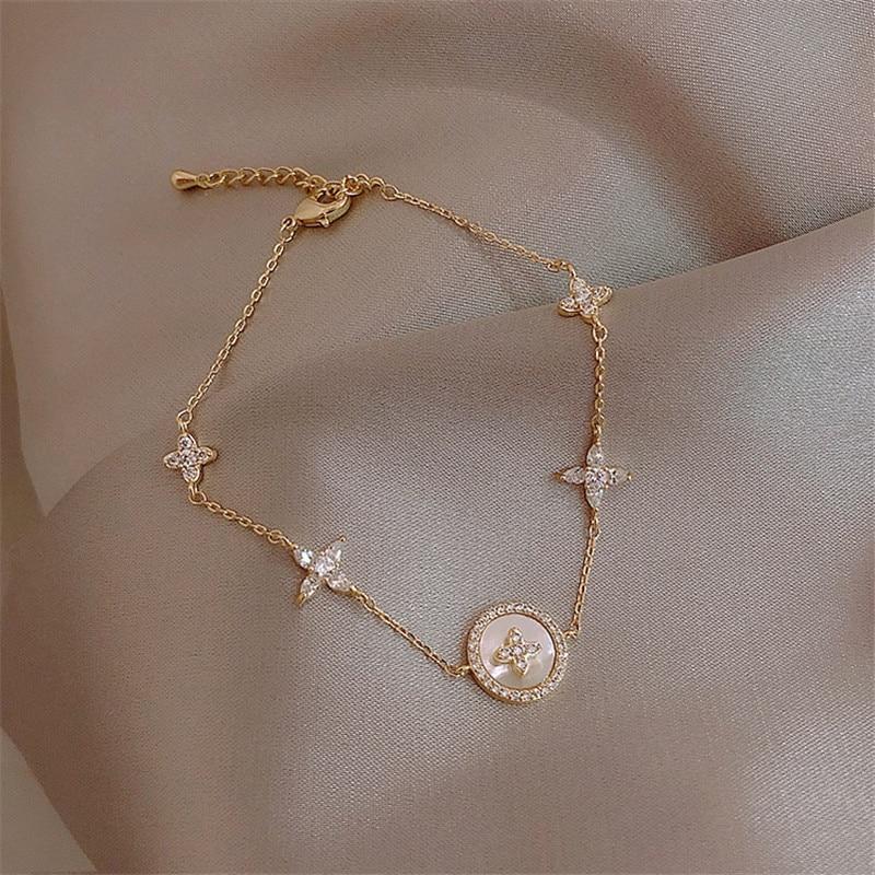 Luxus Mode Zirkonia Natürliche Shell Stein Charme Armband für Frau Exquisite Gold Kette Manschette Armband Mädchen Schmuck Geschenk