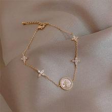 Moda de luxo zircônia cúbica natural concha pedra charme pulseira para mulher requintado corrente de ouro manguito pulseira menina jóias presente
