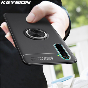 KEYSION Shockproof Case For Realme XT X X2 5 Pro Soft Silicone Magnetic Ring Phone back cover for Realme 6 Q C3 3i 2 Pro X2 Pro(China)