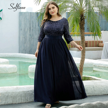 Elegant Navy Blue Maxi Dress Sequined A-Line O-Neck 3/4 Sleeve Chiffon Women Summer Party Ropa Mujer 2020