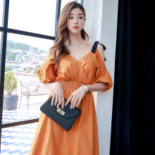 Plus Size Streetwear 2019 Summer Dress Women Big Swing Evening Party Dress Women Off-Shoulder Puff Sleeve Corset Yellow Dress plus open shoulder solid swing dress