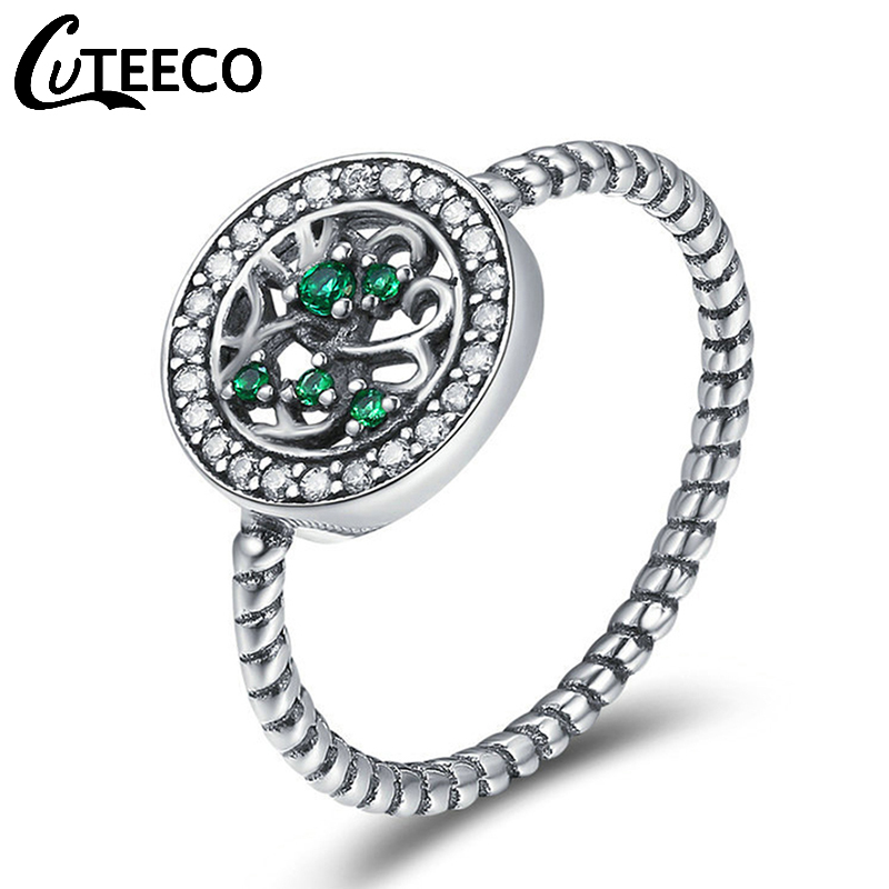 Cuteeco High Quality Silver Color Tree Of Life Finger Pandora Rings For Women,Green AAA Zircon Engagement Jewelry 2019 Hot