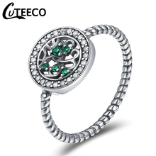 Cuteeco High Quality Silver Color Tree Of Life Finger Pan Rings For Women,Green AAA Zircon Engagement Jewelry 2019 Hot