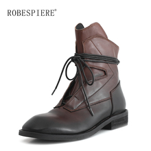 ROBESPIERE Big Size Vintage Ankle Boots Women Genuine Leather Lace Up Flat Ladies Shoes Low Heels Warm Plush Winter Boots B138 beyarne women vintage style genuine leather ankle boots handmade lace up female warm winter shoes flat booties