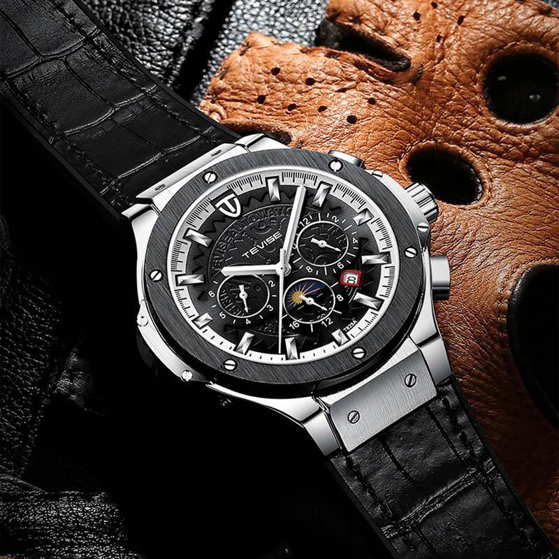 Marca de lujo de diseño clásico de los hombres relojes impermeables de viento automático de cuero mecánico masculino luminoso de moda reloj de TEVISE nuevo TEVISE, relojes automáticos de moda para hombre, relojes mecánicos de acero inoxidable, reloj de lujo para hombre, fase lunar, luminosos, impermeables, nuevo