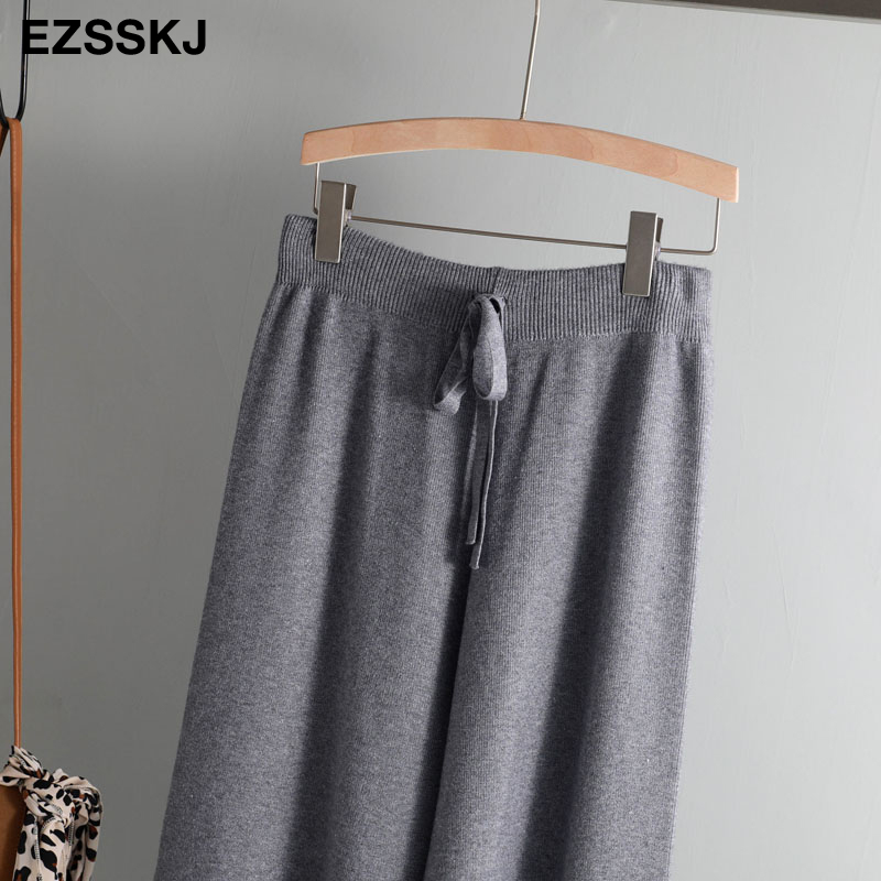 2019 autumn winter new THICK casual straight pants women female drawstring loose knitted wide leg pants casual Trousers 65