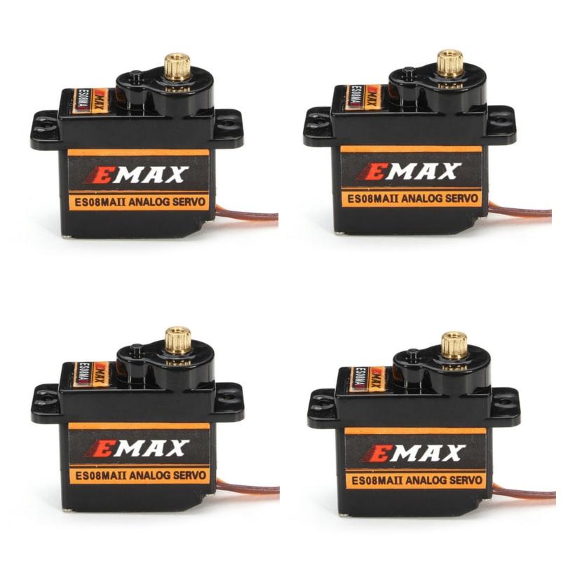 4 шт., EMAX ES08MAII 12g, мини-металлическая передача, Аналоговый сервопривод для радиоуправляемых увлечений, автомобилей, лодок, вертолетов, радиоу...