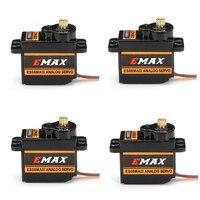 4 Uds EMAX ES08MAII 12g Mini engranaje de Metal Servo analógico para Rc hobby coche barco helicóptero Avión Rc Robot pieza de repuesto