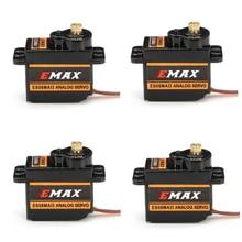 Emax es08maii mini servo analógico 12g, 4 unidades, engrenagem de metal para rc hobbies, carro, barco, helicóptero avião rc robô peça extra,