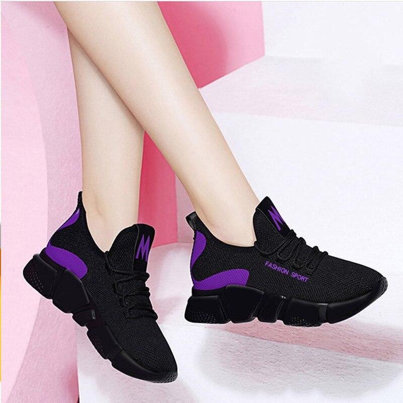 Women Sneakers 2020 Fashion Casual Shoes Woman Comfortable Breathable Mesh Flats Female Black Platform Sneakers Tenis Feminino