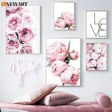 Скандинавская розовая фотография Картина на холсте для гостиной