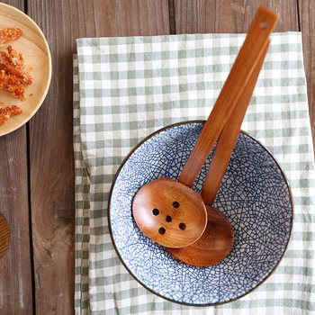 Ramen Soup Spoon Japanese Noodles Soup Spoon with Holes Wooden Kitchen Large Spoon Korean Spoon Wooden Spoon