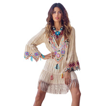 Bohemian Women Dress Autumn Winter Flare Sleeve Tassel Deep V Neck Print Short Dresses Casual Holiday Loose Plus Size Dress