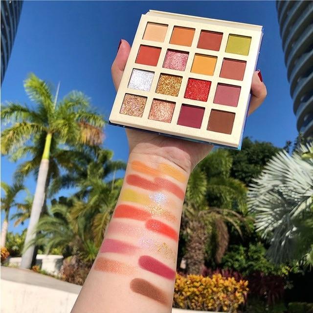 Фото кремовые тени для век палитра 16 цветов мерцающие матовые блестящие