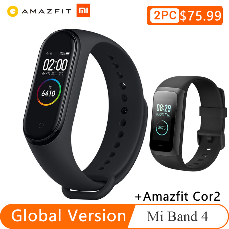 Xiaomi Mi Band 4+huami Amazfit Cor 2 Smart Watch Band Miband 4 Bracelet Heart Rate Fitness135mAh Color Screen Bluetooth 5.0
