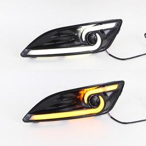 Image 4 - רכב מהבהב 1 זוג DRL לפורד פיאסטה 2013 2014 2015 2016 בשעות היום ריצת אורות ערפל ראש מנורת כיסוי רכב סטיילינג לבן אור יום