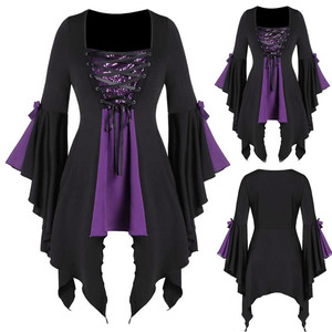 Women Plus Size Pullover Shirts Gothic Sequined Lace Up Tunic Blusas Halloween Flare Sleeve Long Sleeved Top And Blouse Kimono