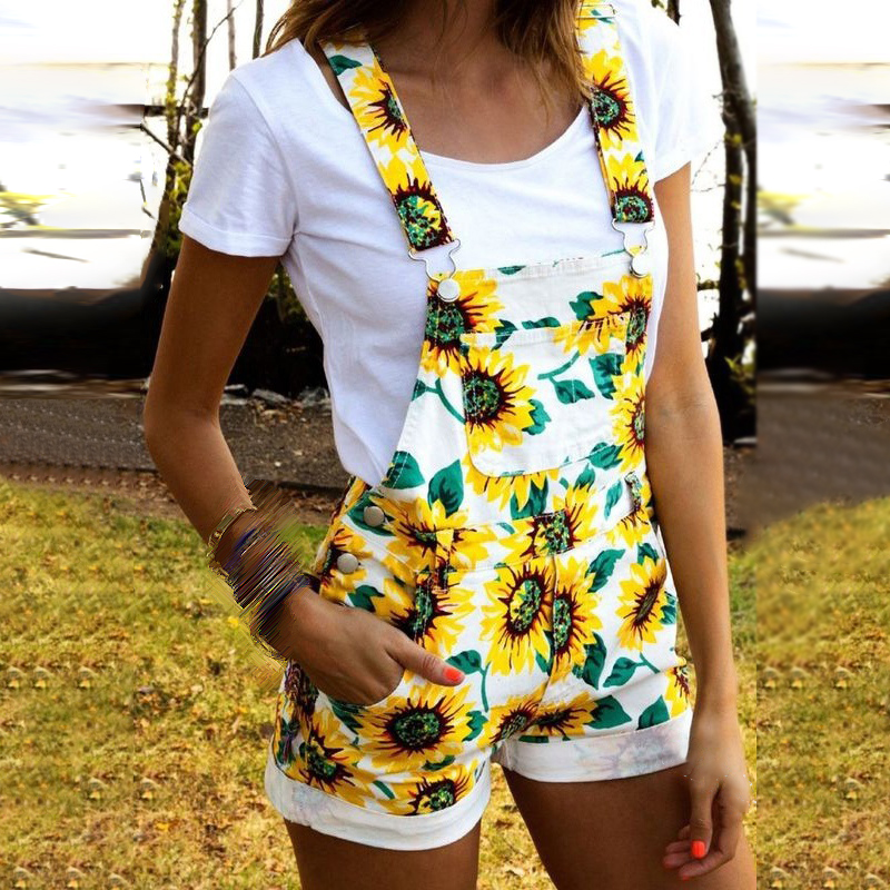 Women Overall Ladies Jumpsuit Beach Summer Plus Size Rompers Fashion Party Sweet Beach Holiday Floral Playsuit