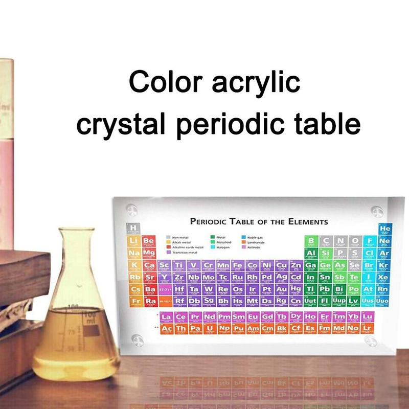 Acrylic Periodic Table Display Kids Teaching School Day Teacher's Day Gifts Periodic Table Display Ornament With Real Elements