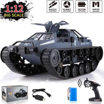 JJRC 1:12 Scale Remote Control Police Tank Car Off-Road All Terrain Vehicle 360°Rolling Flip 4WD High Speed 2.4G Electric Toy