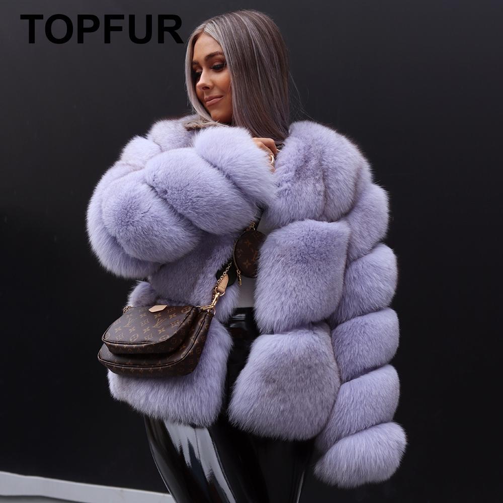TOPFUR Real Fur Coar Women Natural Fox Fur Coats Gray Genuine Leather Jackets Winter Coats Women Pluse Size Real Fox Fur Jackets