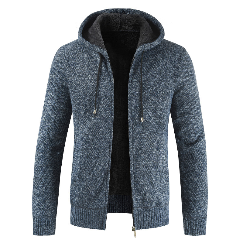 Autumn Winter Sweater Men Fashion Hooded Collar Fleece Warm Windbreaker Cardigan Men Plus Size Full Sleeve Men Coat