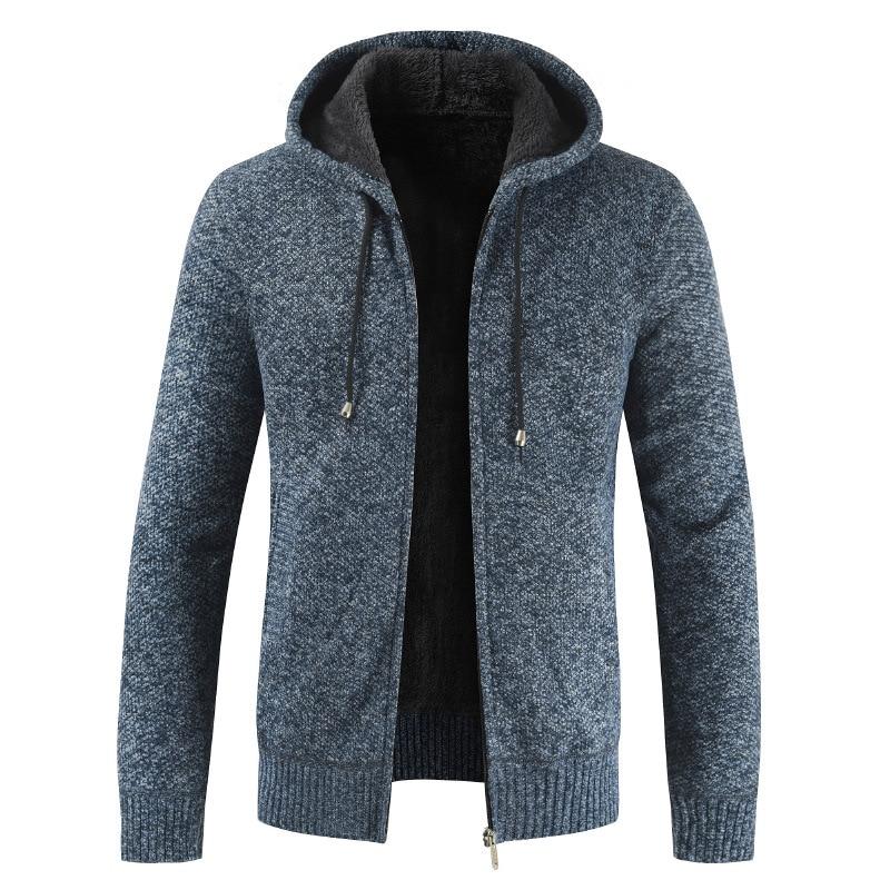 Autumn Winter Sweater Men Fashion Hooded Collar Fleece Warm Windbreaker Cardigan Men Plus Size Full Sleeve Men Coat