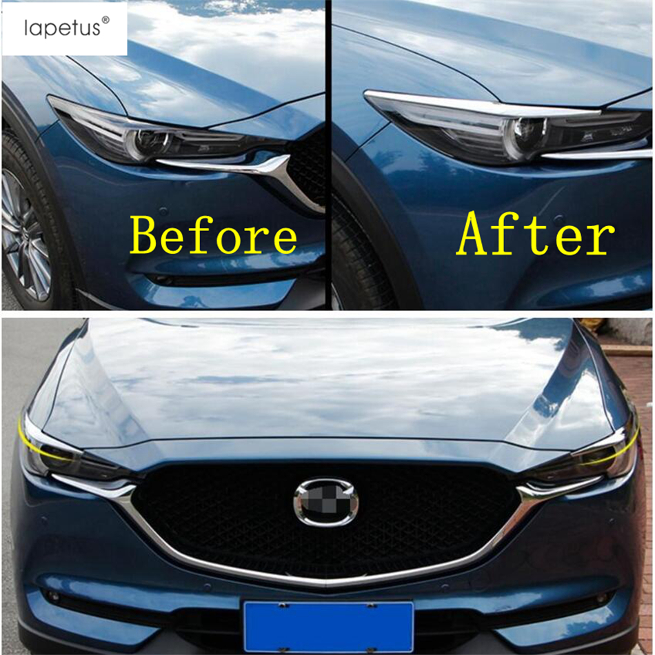 Lapetus <font><b>Accessories</b></font> Fit For <font><b>Mazda</b></font> CX-5 <font><b>CX5</b></font> <font><b>2017</b></font> - 2020 Front Head Lights Headlight Lamp Eyelid Eyebrow Molding Cover Kit Trim image