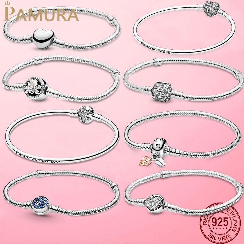 TOP SALE Pulseira Bracelet Femme 925 Sterling Silver Heart Snake Chain Bracelet For Women Fit Original Charm Beads Jewelry Gift