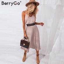 BerryGo Sexy spaghetti strap summer dress women A-line hot p