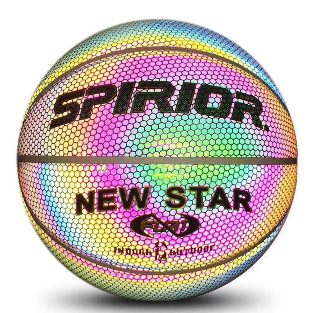Holographic Glowing Reflective Basketball Lighted Flash Glow Basketball Perfect Night Game Toy Gift For Boys Indoor And Outdoor
