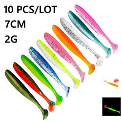 Two-Color T-Tail Soft Lure Fishing Lure 10PCS / LOT 2G 7CM  Dorsal Ventral Groove Design Soft Bait Worm Silicone Artificial Bait