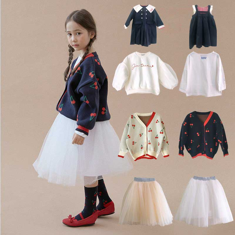 2020 Winter RoanJane Cherry Knitted Girls Sweaters Pleated Tutu Skirts Handmade Baby Pullover Cardigan Toddler Boys Kids Clothes 1