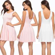 VZFF Summer Women's Dress 2019 New Fashion Solid Color Simple White Pink Small Fresh Sleeveless Women's Open Back Pleated Dress open back scallop edge boxed pleated cami dress
