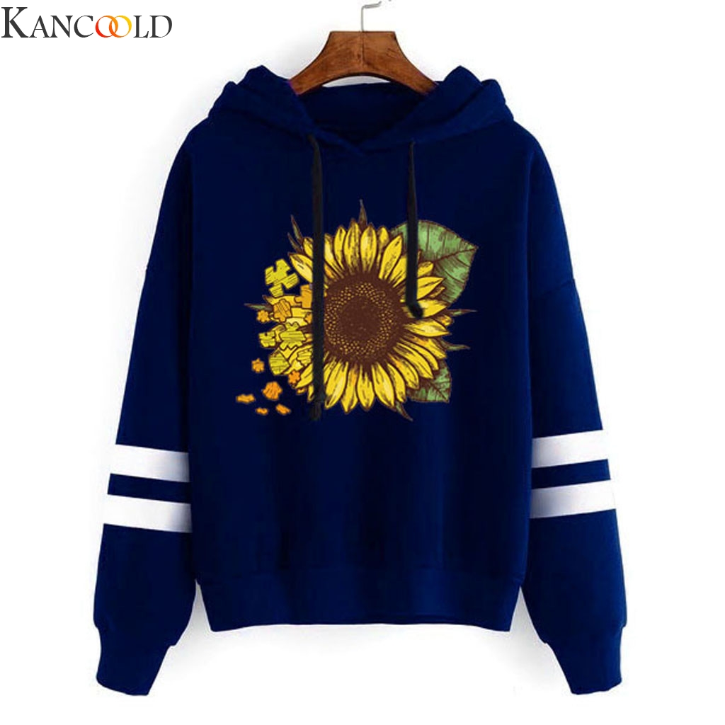 KANCOOLD Large Size Loose Womens Sunflower Print Long Sleeve Simple Hoodie Sweatshirt Hooded Pullover Tops Blouse New Style