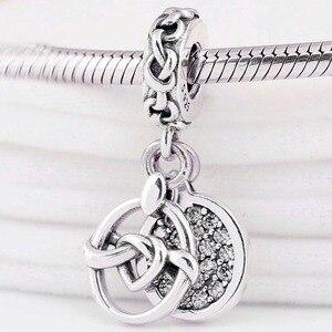 Оригинальные Подвески с двумя дисками в виде сердец, соединяющихся с любовью, 925 пробы серебряный браслет Pandora Diy ювелирные изделия