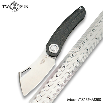 TWOSUN Knives M390 blade folding Pocket Knife tactical knives Camping hunting knife outdoor tool EDC Titanium Fast Open TS137