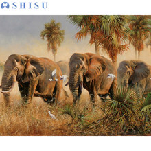 New DIY Framed Elephant Oil Painting By Numbers Animal Anime Colorful Paint Wall Art Picture for Living Room Home Decor(China)