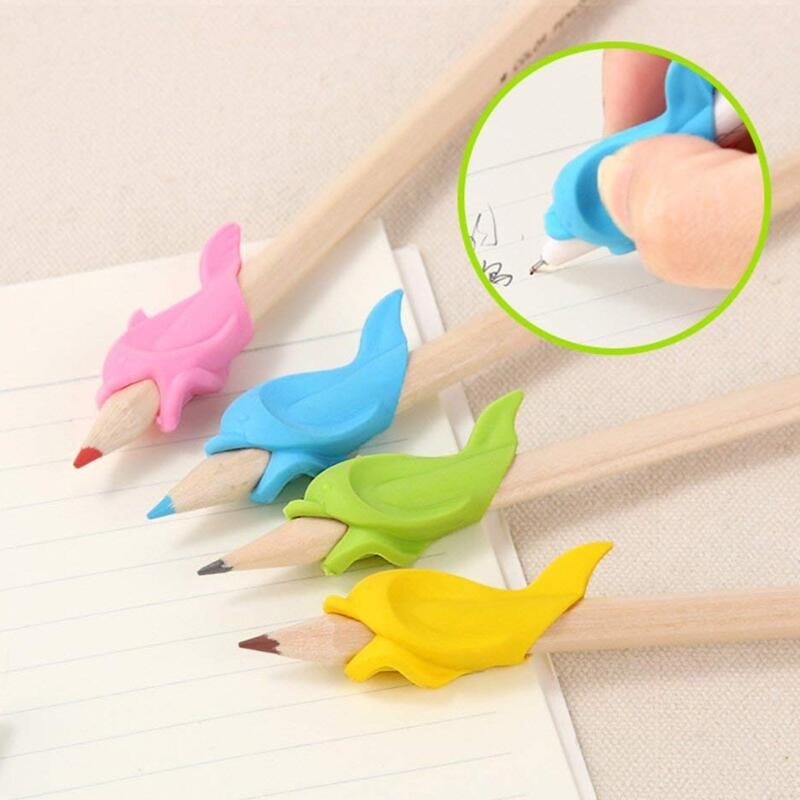 5PCS Cute Children Students Pencil Holding Practise Dolphin Fish Writing Posture Correction Device Silicone Hold A Pen Corrector