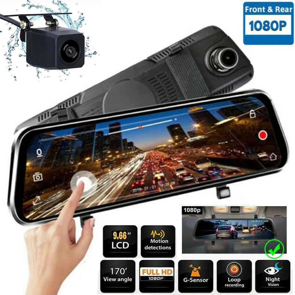 10 cali HD 1080P podwójny obiektyw wideorejestrator samochodowy kamera na deskę rozdzielczą kamery wideo rejestrator na lusterko wsteczne wideorejestrator samochodowy nawigacja gps Car Styling