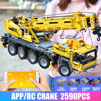 Mould King 20004 Technic Series Motor Power Mobile Crane Mk II Car Model Building Kits Blocks Bricks Compatible With 42009 gifts image