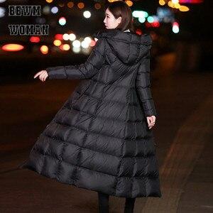 Image 5 - 黒の冬のジャケット女性ロング厚く暖かいパーカーコートの女性のファッションスリムパーカー綿パッド入り ZO854
