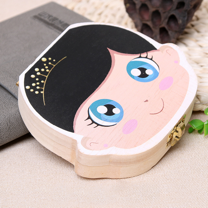 Tooth Box Storage Text Baby Wood Case Save Milk Teeth Collection Holder Storage Box For Baby Organizer Box For Milk Teeth