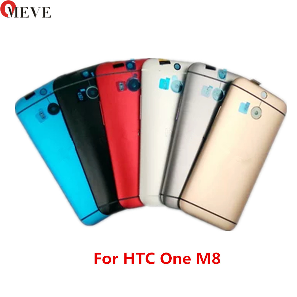 2pcs/lot with NFC Warranty <font><b>Battery</b></font> Cover For <font><b>HTC</b></font> One <font><b>M8</b></font> Back Housing <font><b>Case</b></font> with Volume Power Button Camera Lens 831C image