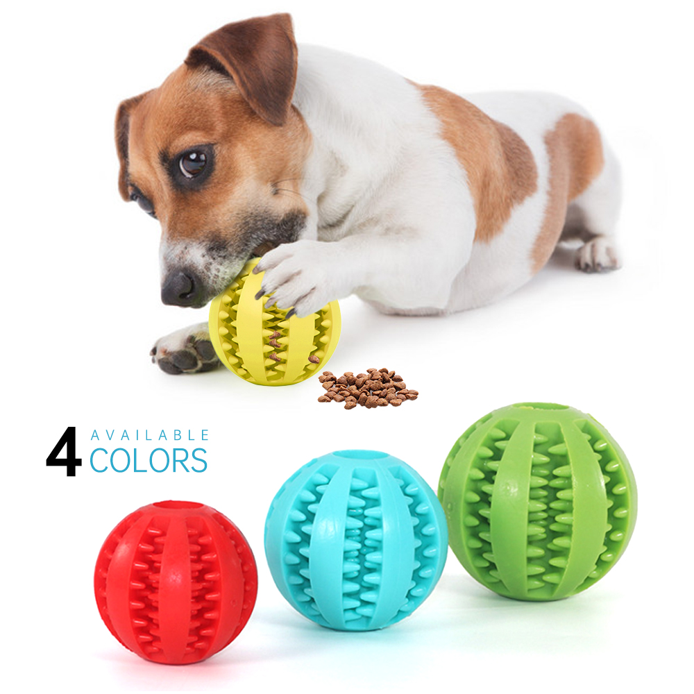 1pc Soft Pet Dog Toys Ball Interactive Elasticity Ball Dog Chew Toy Tooth Clean Rubber Ball Toys For Dogs Treats Food Dispenser