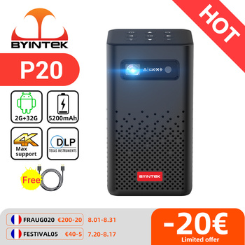 BYINTEK P20 Mini Portable Pico Smart Android 1080P LED WiFi DLP Projector 4K Beamer for Smartphone 3D Outdoor Yard Party Sport 1