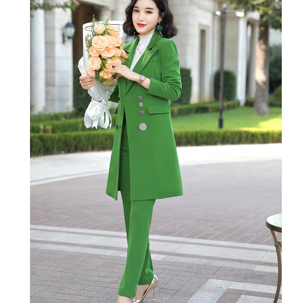 Female Elegant Formal Office Work Wear OL High Quality Women Pant Suit Long Blazer And Pant Suit Green Red Black 2 Pieces Set