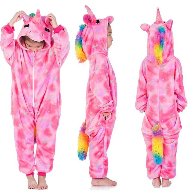 Flannel Unicorn for Kids Pajamas Boys Girls Sleepwear Children Panda Jumpsuit Kids oneises for Licorne Jumpsuit 3