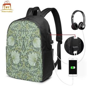 William Morris Fabric Backpack William Morris Fabric Backpacks Trendy Men - Women Bag Student Print Bags